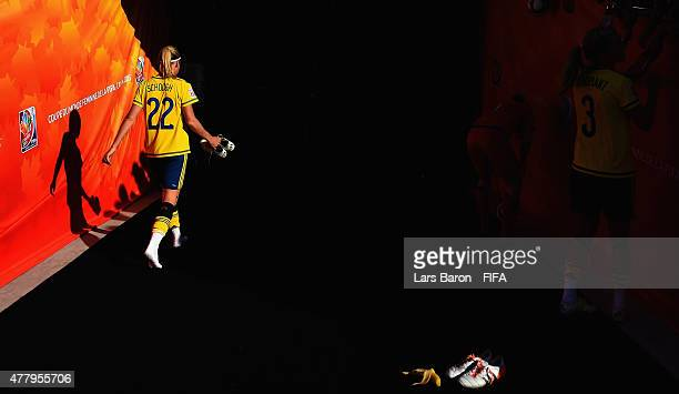 Olivia Schough of Sweden leaves dejected the pitch after loosing the FIFA Women's World Cup 2015 Round of 16 match between Germany and Sweden at...