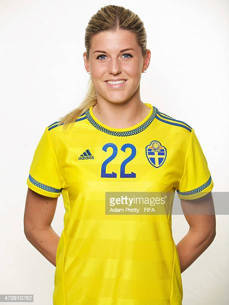 Olivia Schough of Sweden poses for a portrait during the team portrait session at the Hilton Hotel on June 4 2015 in Winnipeg Canada