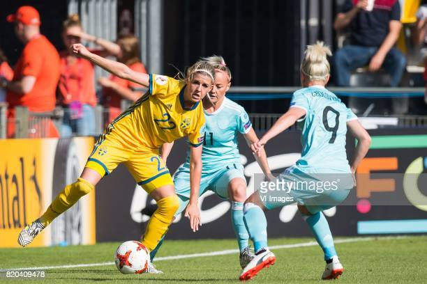 Olivia Schough of Sweden women Ekaterina Sochneva of Russia women Anna Cholovyaga of Russia women during the UEFA WEURO 2017 Group B group stage...