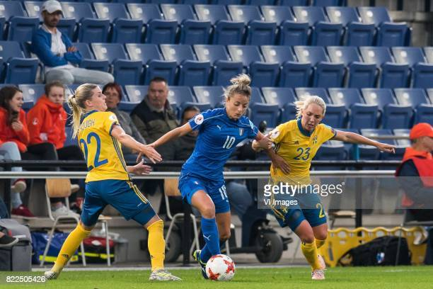 Olivia Schough of Sweden women Martina Rosucci of Italy Women Elin Rubensson of Sweden women during the UEFA WEURO 2017 Group B group stage match...