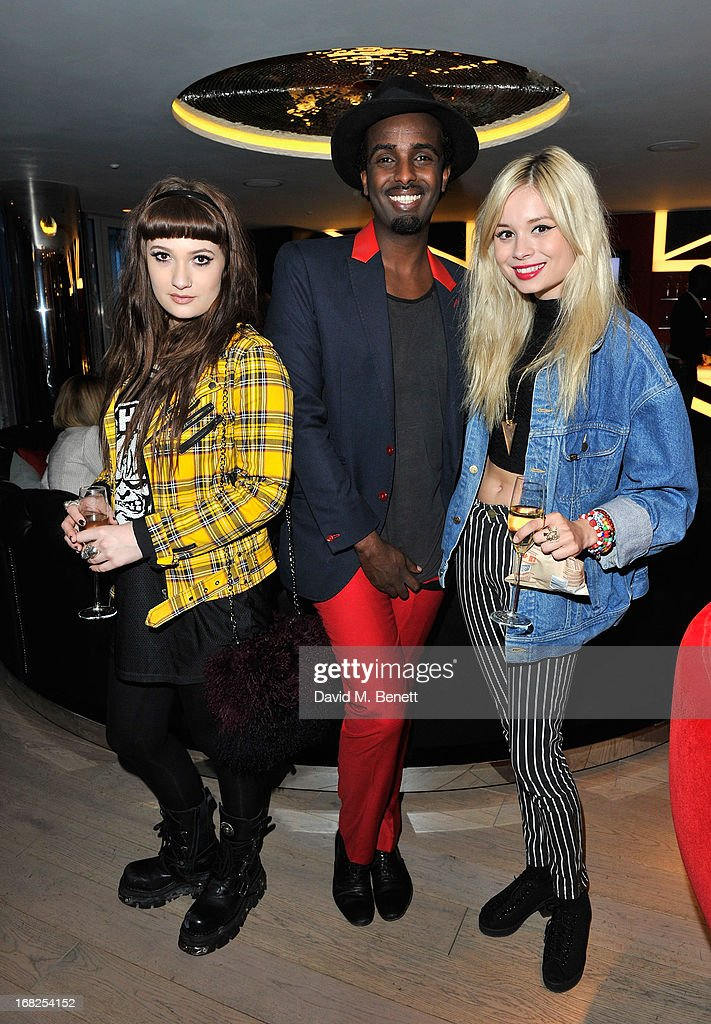 Olivia Sebastianelli, Mason Smillie and Nina Nesbitt arrives at the William Tempest x W London pyjama party in the new E WOW Suite at W London - Leicester Square on May 7, 2013 in London, England.