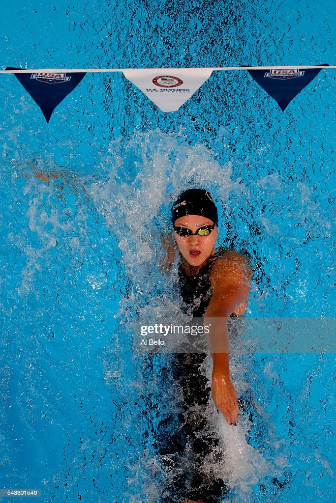 Olivia Smoliga of the United States competes in a preliminary heat for the Women's 100 Meter Backstroke during Day Two of the 2016 U.S. Olympic Team Swimming Trials at CenturyLink Center on June 27, 2016 in Omaha, Nebraska.
