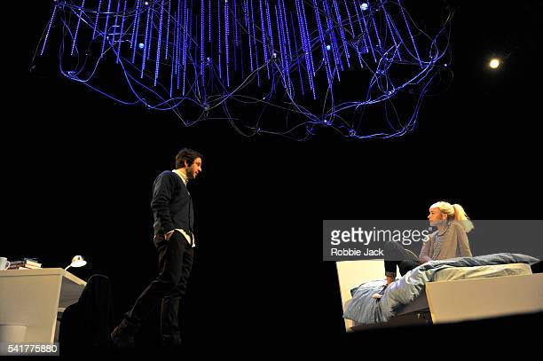 Olivia Vinall as Hilary and Damien Molony as Spike in Tom Stoppard's The Hard Problem directed by Nicholas Hytner at the National Theatre in London