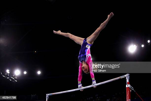 Olivia Vivian of Australia competes in the Uneven Bars during the Women's AllAround Final at SECC Precinct during day seven of the Glasgow 2014...