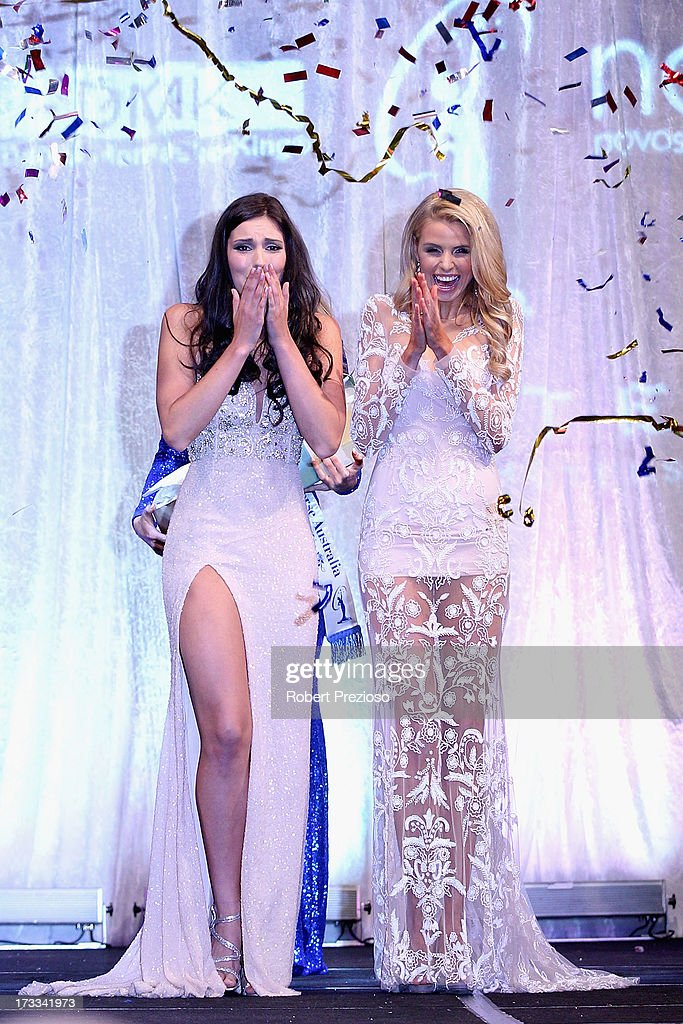 Olivia Wells (L) of Victoria is crowned as the winner at the 2013 Miss Universe Australia Pageant on July 12, 2013 in Melbourne, Australia.