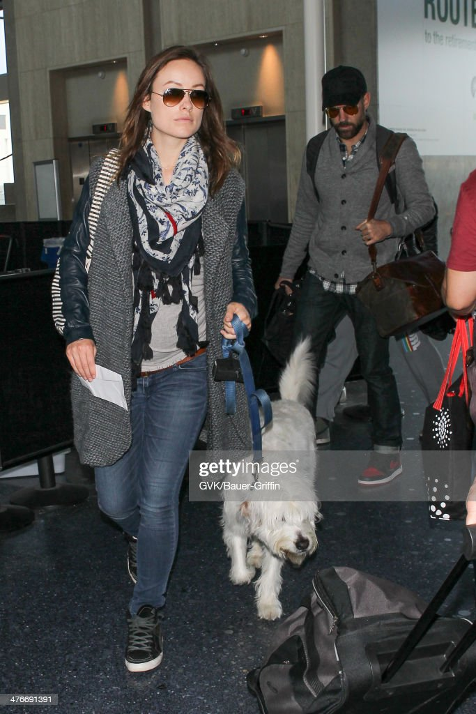 Olivia Wilde and Jason Sudeikis are seen at LAX airport on March 04, 2014 in Los Angeles, California.