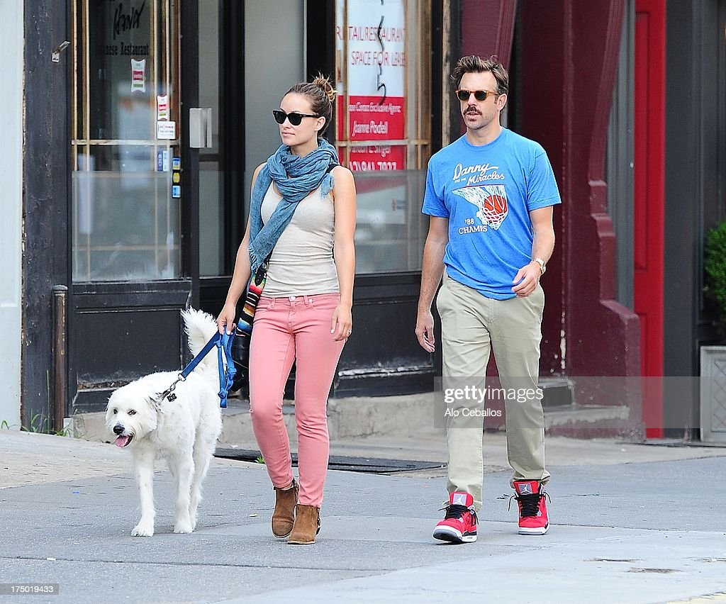 Olivia Wilde and Jason Sudeikis are seen in the West Village on July 29, 2013 in New York City.