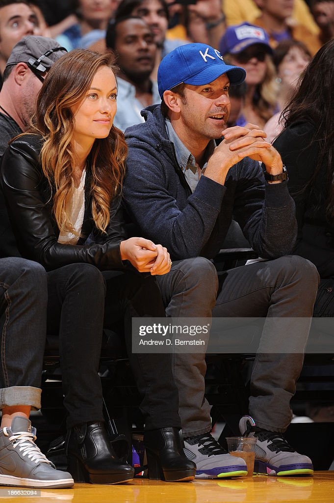<a gi-track='captionPersonalityLinkClicked' href=/galleries/search?phrase=Olivia+Wilde&family=editorial&specificpeople=235399 ng-click='$event.stopPropagation()'>Olivia Wilde</a> and Jason Sedeikis attend a game between the Los Angeles Lakers and the San Antonio Spurs on November 1, 2013 at STAPLES Center in Los Angeles, California.