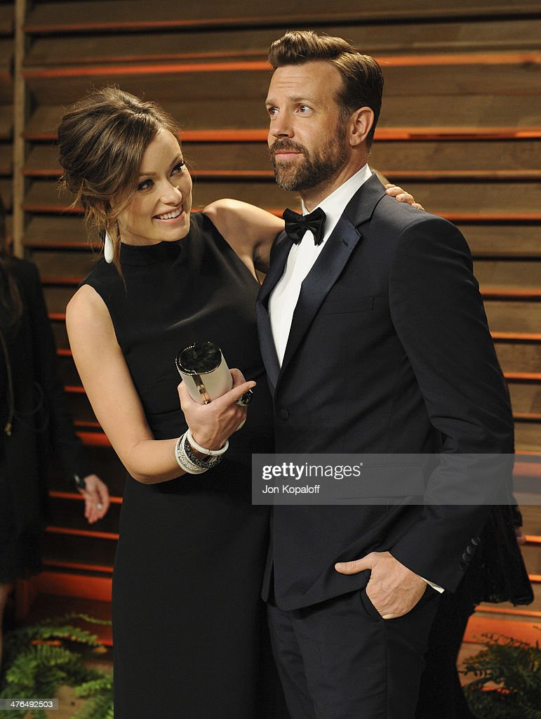Olivia Wilde and Jason Sudeikis attend the 2014 Vanity Fair Oscar Party hosted by Graydon Carter on March 2, 2014 in West Hollywood, California.