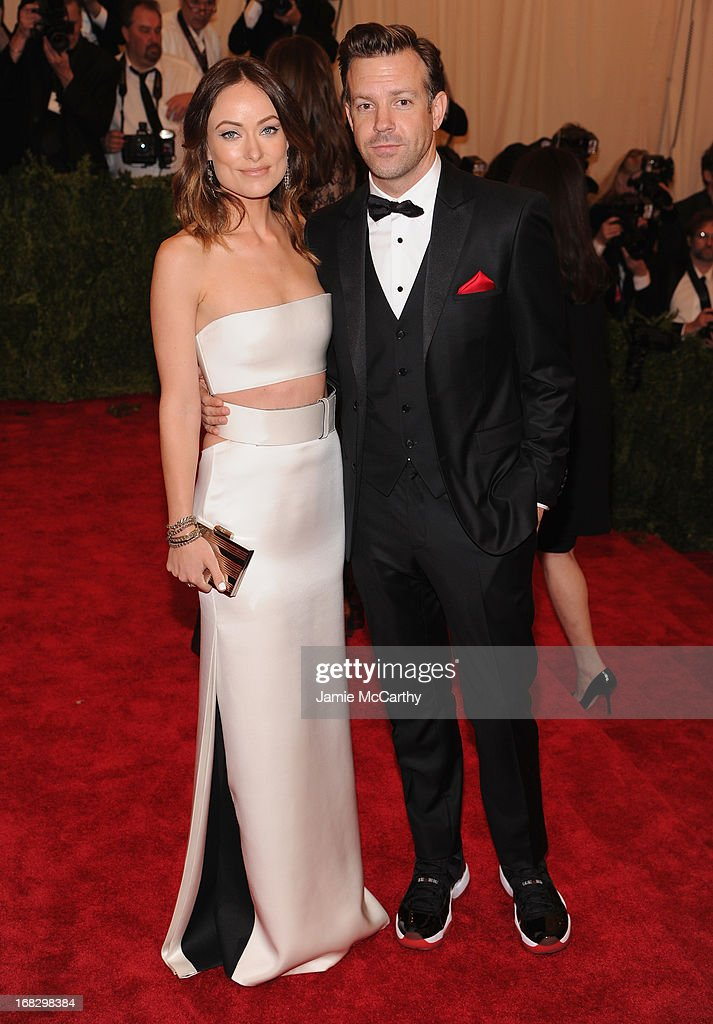 Olivia Wilde and Jason Sudeikis attend the Costume Institute Gala for the 'PUNK: Chaos to Couture' exhibition at the Metropolitan Museum of Art on May 6, 2013 in New York City.