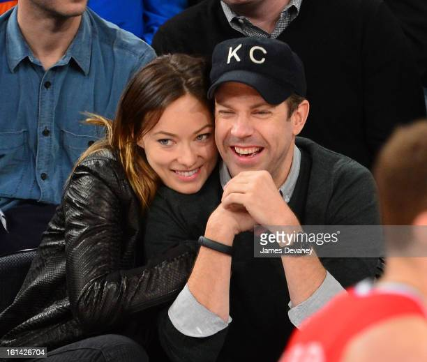 Olivia Wilde and Jason Sudeikis attend the Los Angeles Clippers vs New York Knicks game at Madison Square Garden on February 10 2013 in New York City