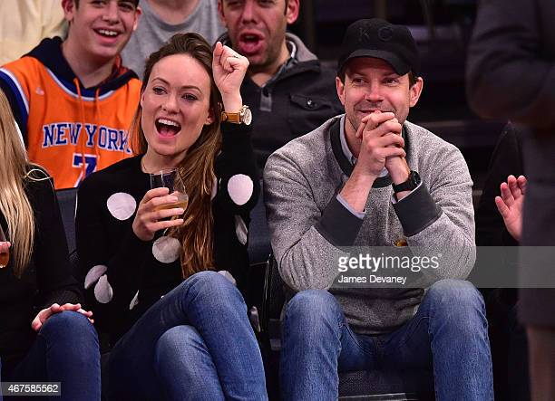 Olivia Wilde and Jason Sudeikis attend the Los Angeles Clippers vs New York Knicks game at Madison Square Garden on March 25 2015 in New York City