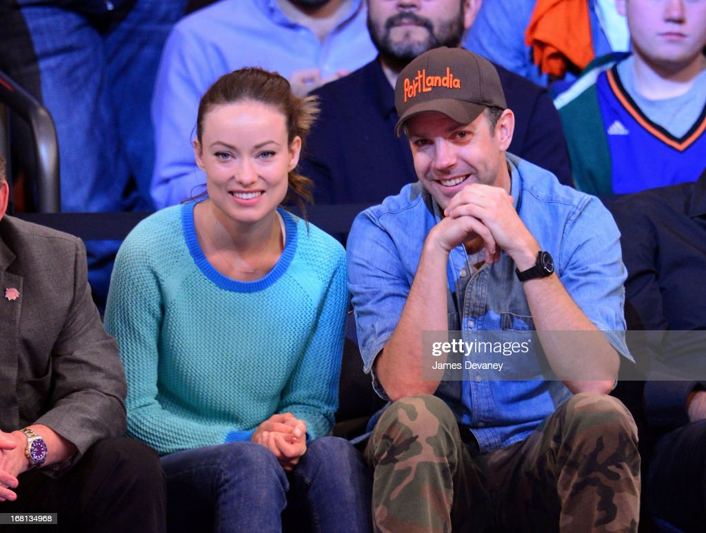 Olivia Wilde and Jason Sudeikis attend the New York Knicks vs Indiana Pacers NBA playoff game at Madison Square Garden on May 5, 2013 in New York City.