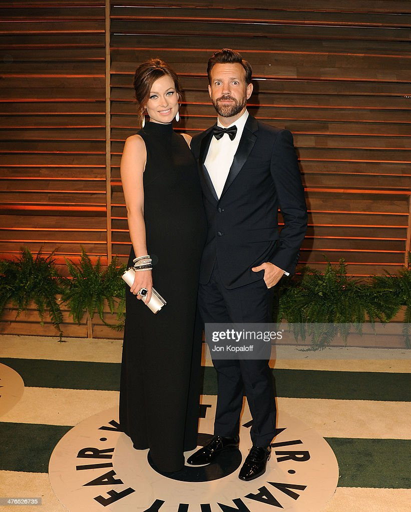 Olivia Wilde and Jason Sudeikis attends the 2014 Vanity Fair Oscar Party hosted by Graydon Carter on March 2, 2014 in West Hollywood, California.
