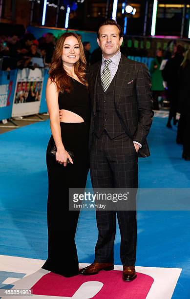 Olivia Wilde and Jason Sudeikis attends the UK Premiere of 'Horrible Bosses 2' at Odeon West End on November 12 2014 in London England