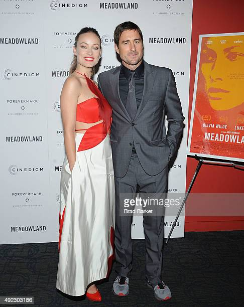 Olivia Wilde and Luke Wilson attend the 'Meadowland' New York premiere at Sunshine Landmark on October 11 2015 in New York City