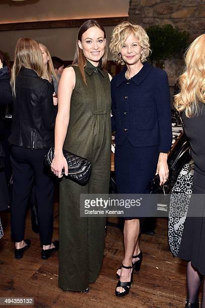 Olivia Wilde and PMeg Ryan attend Through Her Lens The Tribeca Chanel Women's Filmmaker Program luncheon at Locanda Verde on October 26 2015 in New...