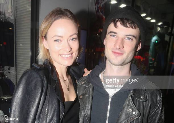 Olivia Wilde and Tom Sturridge pose at the opening night of the play 'A Doll's House Part 2' on Broadway at The Golden Theatre on April 27 2017 in...