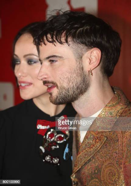 Olivia Wilde and Tom Sturridge pose at the opening night party for '1984' on Broadway at The Lighthouse at Chelsea Piers on June 22 2017 in New York...