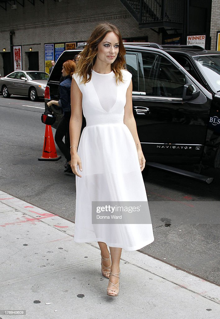 <a gi-track='captionPersonalityLinkClicked' href=/galleries/search?phrase=Olivia+Wilde&family=editorial&specificpeople=235399 ng-click='$event.stopPropagation()'>Olivia Wilde</a> arrives for the 'Late Show with David Letterman' at Ed Sullivan Theater on August 19, 2013 in New York City.