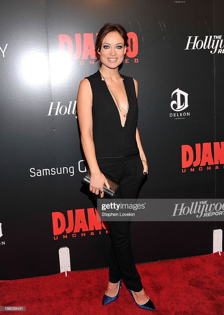 Olivia Wilde attends a screening of 'Django Unchained' hosted by The Weinstein Company with The Hollywood Reporter, Samsung Galaxy and The Cinema Society at Ziegfeld Theater on December 11, 2012 in New York City.