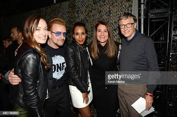 Olivia Wilde Bono Kerry Washington Melinda Gates and Bill Gates attend 2015 Global Citizen Festival to end extreme poverty by 2030 in Central Park on...