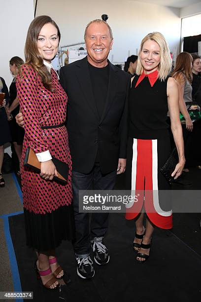 Olivia Wilde designer Michael Kors and Naomi Watts pose backstage at the Michael Kors Spring 2016 Runway Show during New York Fashion Week The Shows...