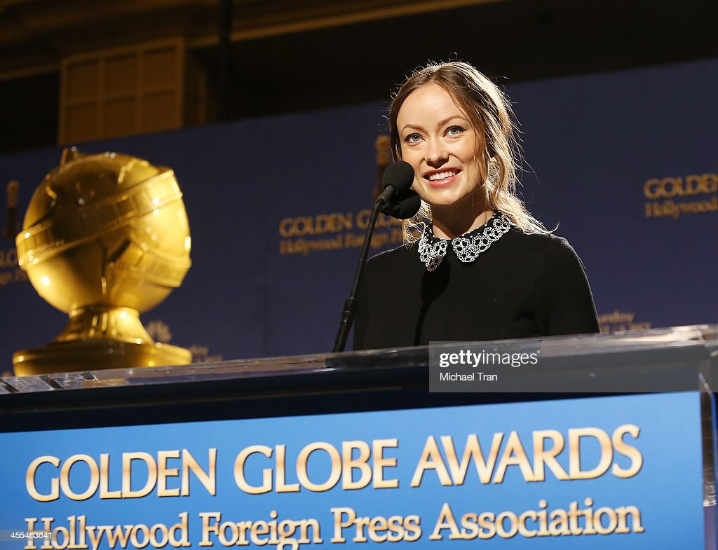 <a gi-track='captionPersonalityLinkClicked' href=/galleries/search?phrase=Olivia+Wilde&family=editorial&specificpeople=235399 ng-click='$event.stopPropagation()'>Olivia Wilde</a> speaks at the 71st Annual Golden Globe Awards Nominations Announcement held at The Beverly Hilton on December 12, 2013 in Beverly Hills, California.