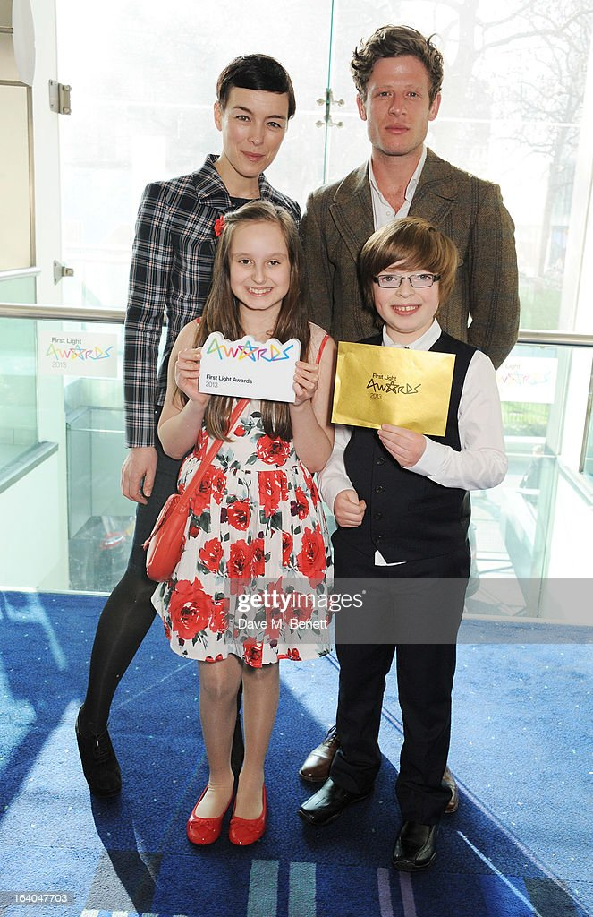 Olivia Williams and James Norton pose with winners of the Best Film by under-12's Sofia Gaeta and Jacob Dennis at the First Light Awards at Odeon Leicester Square on March 19, 2013 in London, England.