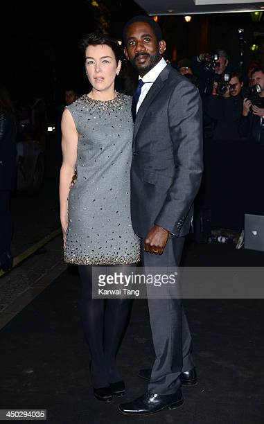 Olivia Williams and Rhashan Stone arrive for the London Evening Standard Theatre Awards held at the Savoy Hotel on November 17 2013 in London England