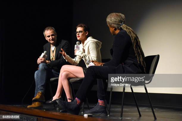 Olivier Assayas Kristen Stewart and Elvis Mitchell attend the Film Independent at LACMA screening and QA of 'Personal Shopper' at Bing Theatre at...