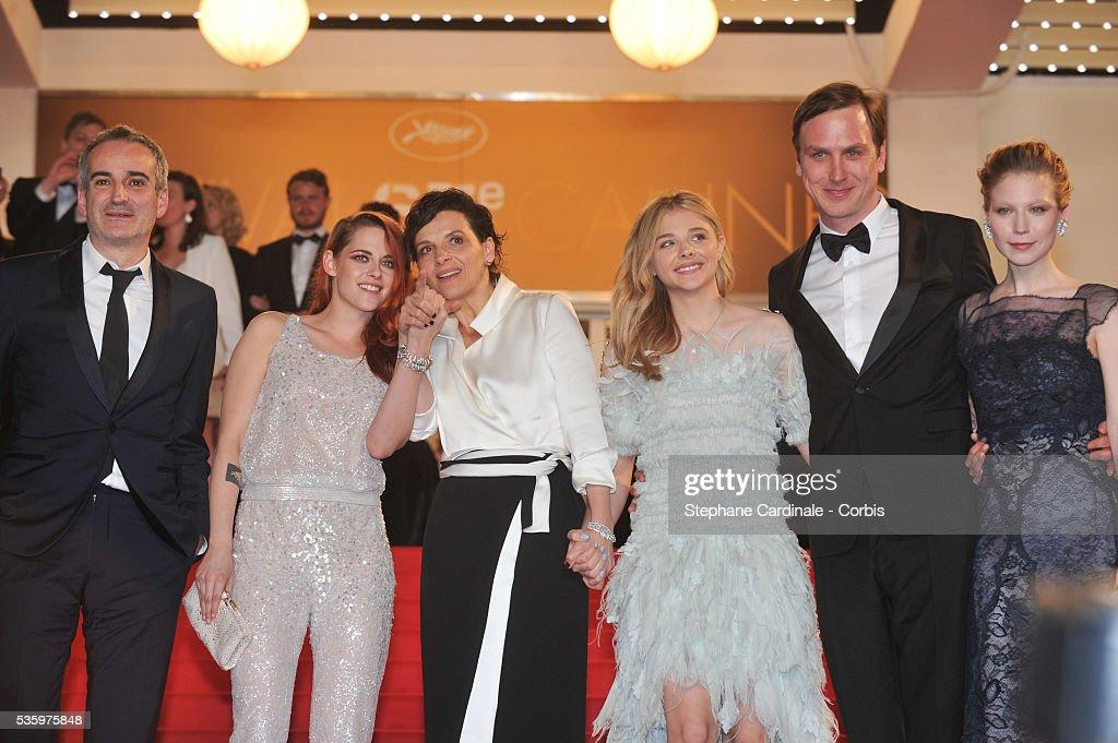 Olivier Assayas, Kristen Stewart, Juliette Binoche and Chloe Grace Moretz, guest and Nora von Waldstaetten after the 'Clouds Of Sils Maria' Premiere at the 67th Annual Cannes Film Festival