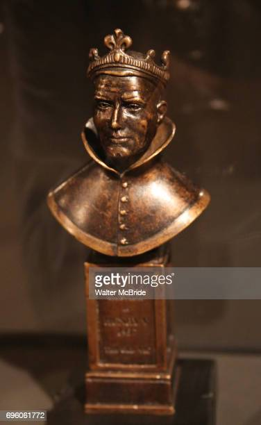 Olivier Award seen at the exhibition Curtain Up Celebrating the Last 40 Years of Theatre in New York and London at the New York Public Library for...