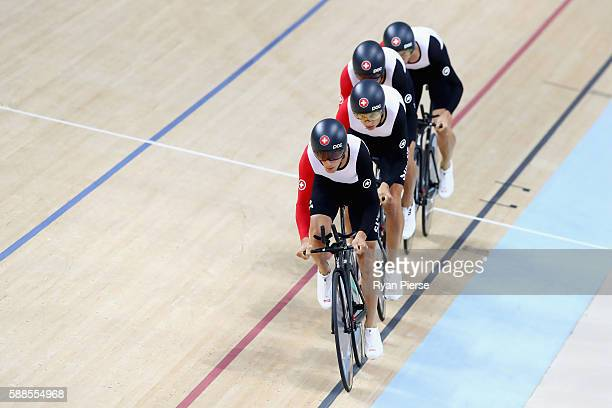 Olivier Beer Silvan Dillier Thery Schir and Cyrille Thiery of Switzerland compete in the Men's Team Pursuit qualifying on Day 6 of the 2016 Rio...