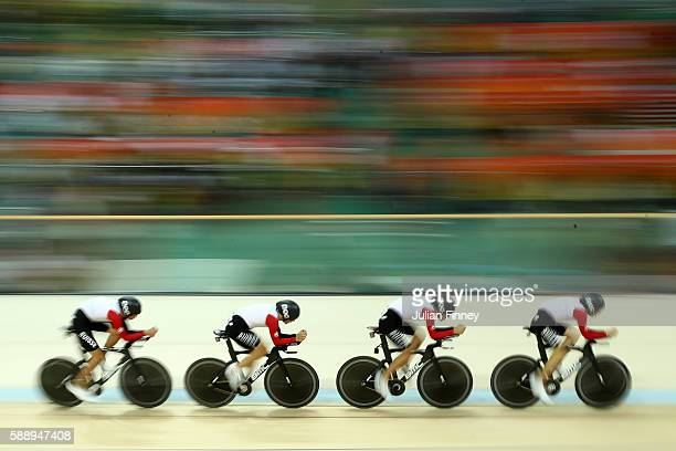 Olivier Beer Silvan Dillier Thery Schir and Cyrille Thiery of Switzerland competes in the Men's Team Pursuit Final for the 78th place on Day 7 of the...