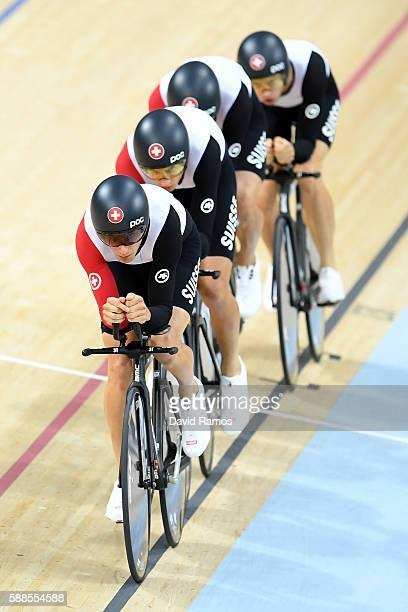 Olivier Beer Silvan Dillier Thery Schir and Cyrille Thiery of Switzerland ride in the Men's Team Pursuit qualifying on Day 6 of the 2016 Rio Olympics...