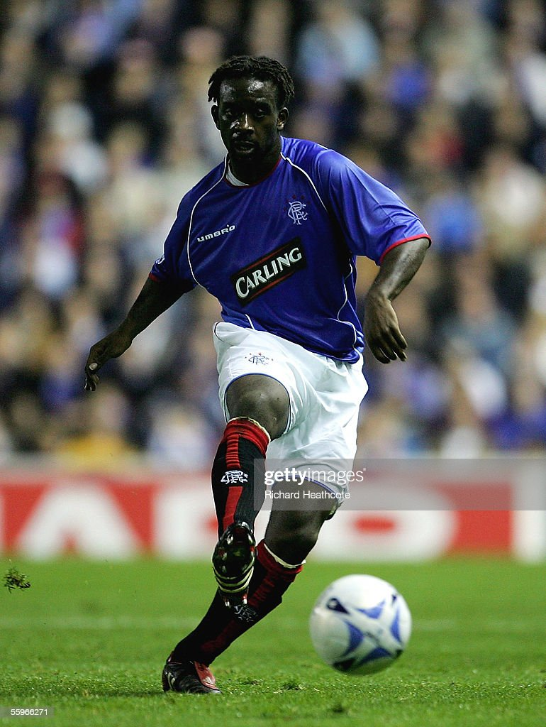 Olivier Bernard of the Glasgow Rangers controls the ball during the UEFA Champions League group H match against Artmedia Bratislava held at Ibrox October 19, 2005 in Glasgow, Scotland.