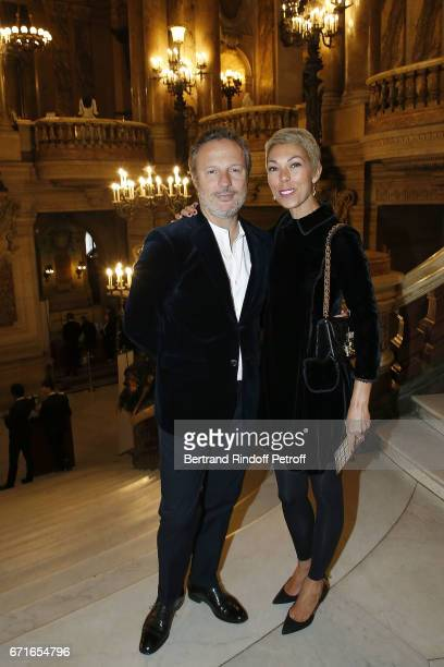 Olivier Bialobos and Mathilde Favier attend Tribute to Dancer Yvette Chauvire at Opera Garnier on April 22 2017 in Paris France