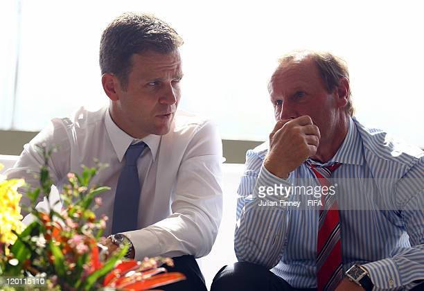 Olivier Bierhoff and Berti Vogts for Germany during the Preliminary Draw of the 2014 FIFA World Cup at Marina Da Gloria on July 30 2011 in Rio de...