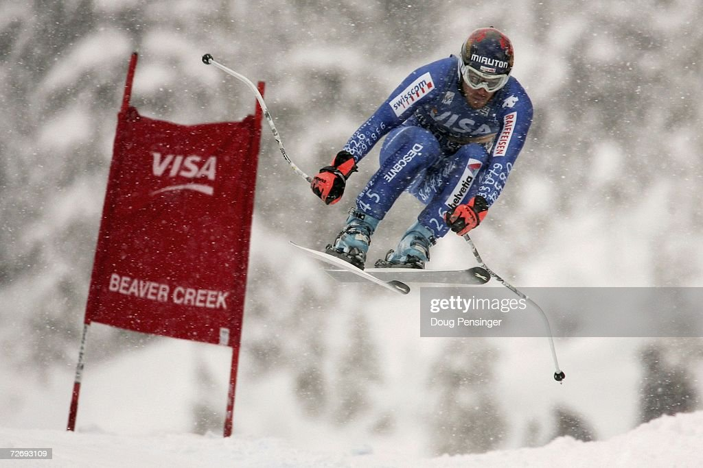 Olivier Brand of Switzerland attacks the course in the FIS Alpine World Cup Men's Downhill on December 1, 2006 on Birds of Prey at Beaver Creek in Avon, Colorado.