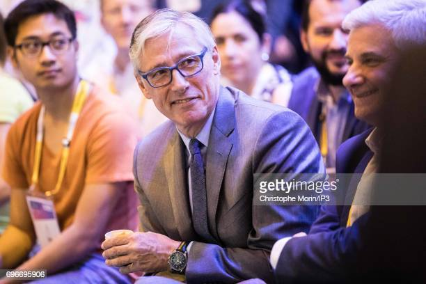 Olivier Brandicourt CEO of French drugmaker Sanofi attends a conference during Viva Technology at Parc des Expositions Porte de Versailles on June 16...