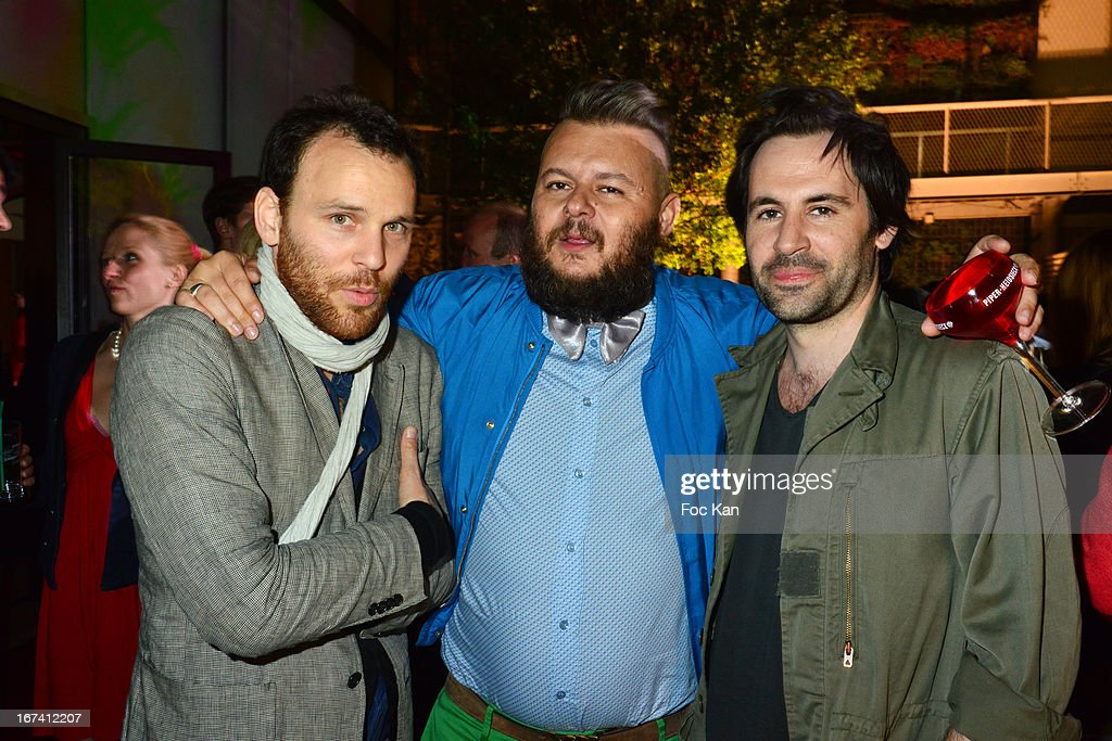 Olivier Chini, Greg Boust and Olivier Urvoy de Closmadeuc attend the Villa Schweppes Launch Party For Cannes Film Festival 2013 At Salle Wagram on April 24, 2013 in Paris, France.