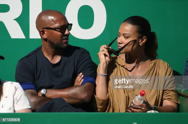 Olivier Dacourt and his wife Stephanie Dacourt on day 6 of the MonteCarlo Rolex Masters an ATP Tour Masters Series 1000 on the clay courts of the...