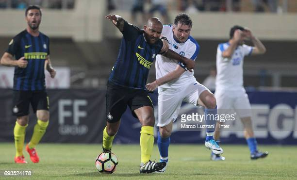 Olivier Dacourt of Inter Forever competes for the ball with Theodoors Zagorakis of Greece 2004 during the friendlt match between Greece 2004 and...