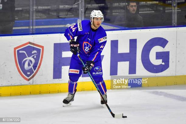 Olivier Dame Malka of France during the EIHF Ice Hockey Four Nations tournament match between France and Slovenia on November 9 2017 in Cergy France
