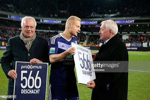 Olivier Deschacht defender of RSC Anderlecht and Paul Van Himst pictured during the Jupiler Pro League match between RSC Anderlecht and KV Oostende...