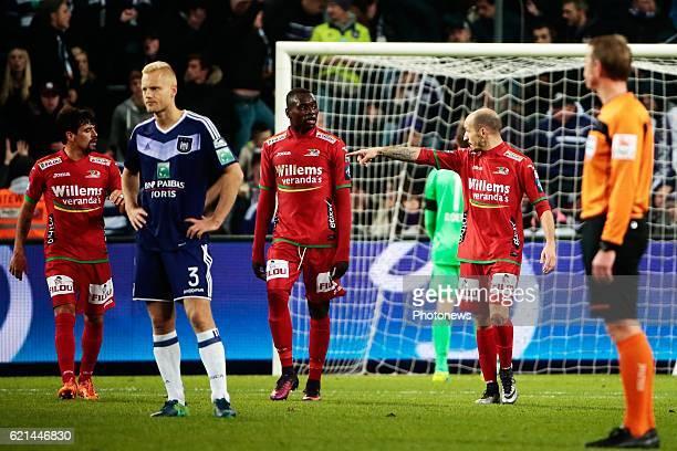 Olivier Deschacht defender of RSC Anderlecht looks dejected after Franck Berrier midfielder of KV Oostende scored the opening goal from penalty...