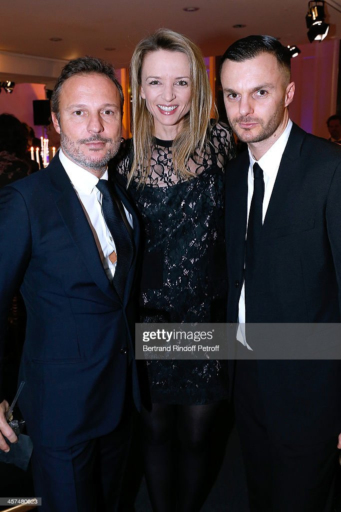 Olivier Dialobos, <a gi-track='captionPersonalityLinkClicked' href=/galleries/search?phrase=Delphine+Arnault&family=editorial&specificpeople=577890 ng-click='$event.stopPropagation()'>Delphine Arnault</a> and Fashion Designer Dior Homme, <a gi-track='captionPersonalityLinkClicked' href=/galleries/search?phrase=Kris+Van+Assche+-+Fashion+Designer&family=editorial&specificpeople=5744788 ng-click='$event.stopPropagation()'>Kris Van Assche</a> attend the Annual Charity Dinner hosted by the AEM Association Children of the World for Rwanda on December 17, 2013. Held at Espace Pierre Cardin in Paris, France.