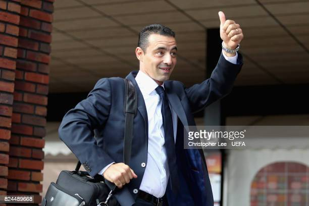 Olivier Echouafni head coach of France arrives at the stadium prior to the UEFA Women's Euro 2017 Quarter Final match between France and England at...