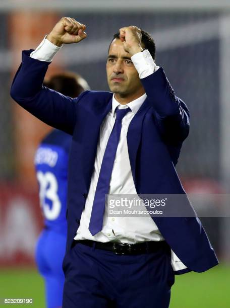 Olivier Echouafni head coach of France celebrates after the Group C match between Switzerland and France during the UEFA Women's Euro 2017 at Rat...
